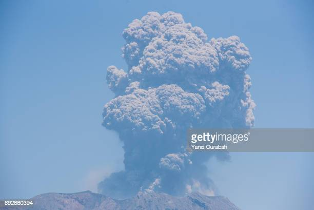 Tremendous volcanic eruption on Sakurajima Island, Kyushu, Japan