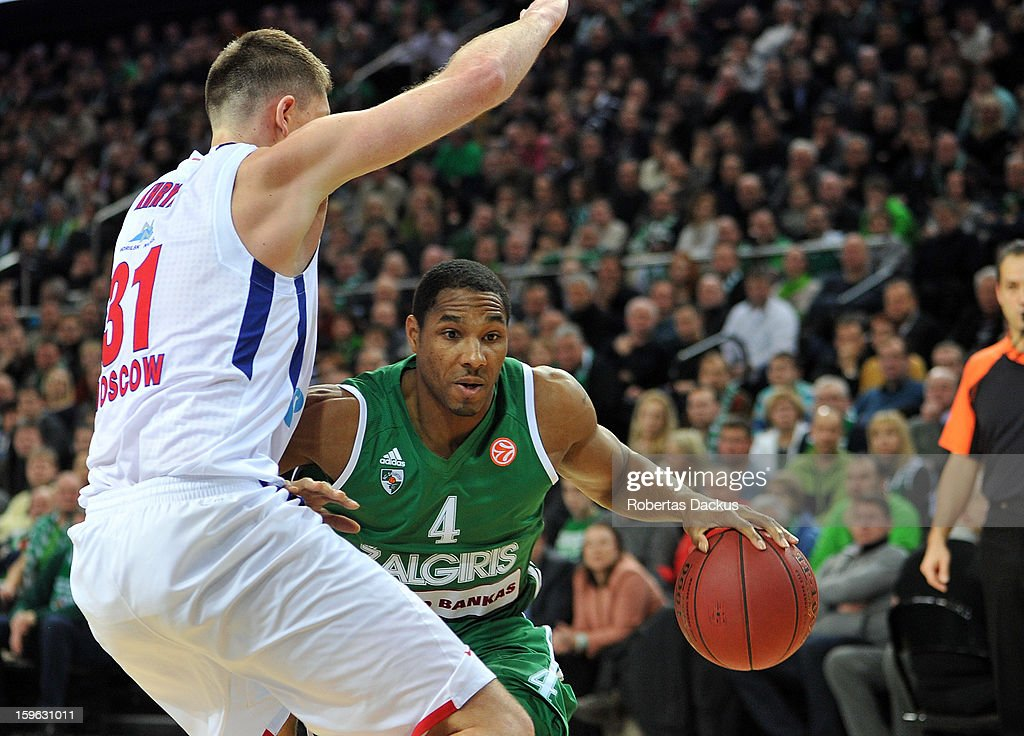 Tremmell Draden, #4 of Zalgiris Kaunas in action during the 2012-2013 Turkish Airlines Euroleague Top 16 Date 4 between Zalgiris Kaunas v CSKA Moscow at Zalgiris Arena on January 17, 2013 in Kaunas, Lithuania.