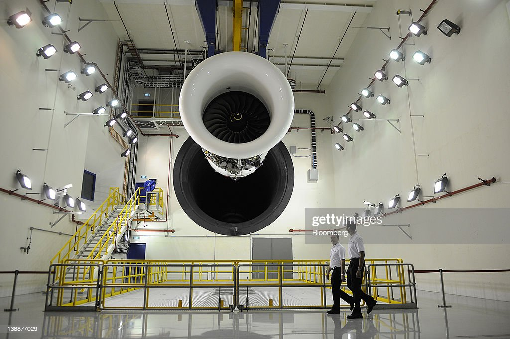 A Trent 900 engine is displayed in the test cell of Rolls-Royce Holdings Plc's new facility in Singapore, on Monday, Feb. 13, 2012. Rolls-Royce plans to build 250 Trent engines a year in Singapore and raise the workforce in the city to 2,000. Photographer: Munshi Ahmed/Bloomberg via Getty Images