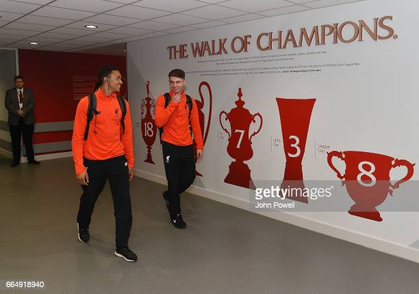 Trent AlexanderArnold and Ben Woodburn of Liverpool arrives before the Premier League match between Liverpool and AFC Bournemouth at Anfield on April...