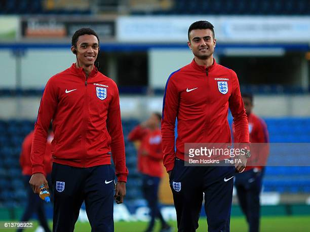 Trent AlexanderArnold and Easah Suliman of England look at the pitch ahead of the U19 International Match between England and Bulgaria at Adams Park...