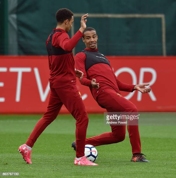 Trent AlexanderArnold and Joel Matip of Liverpool during a training session at Melwood Training Ground on October 20 2017 in Liverpool England