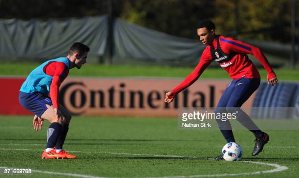 Trent AlexanderArnold and Jack Harrison of England U21's during a training session at St Georges Park on November 8 2017 in BurtonuponTrent England