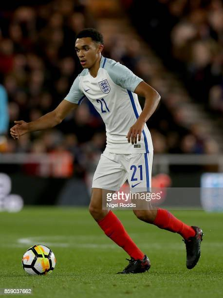 Trent AlexanderArnold of England U21 during the UEFA European Under 21 Championship Group 4 Qualifier between England and Scotland at Riverside...