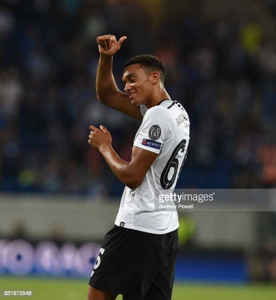 Trent AlexanderArnold of Liverpool at the end of the UEFA Champions League Qualifying PlayOffs Round First Leg match between 1899 Hoffenheim and...