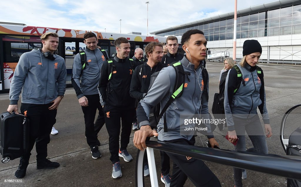 Trent Alexander-Arnold of Liverpool before departing for the group E Champions League match between Sevilla and Liverpool at Liverpool John Lennon Airport on November 20, 2017 in Liverpool, England.