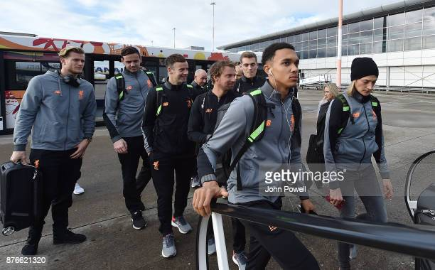 Trent AlexanderArnold of Liverpool before departing for the group E Champions League match between Sevilla and Liverpool at Liverpool John Lennon...