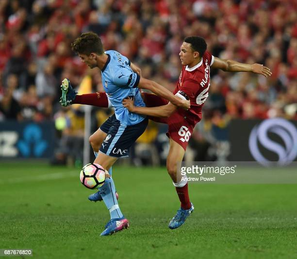 Trent AlexanderArnold of Liverpool competes with Brandon O'Neill of Sydney FC during the International Friendly match between Sydney FC and Liverpool...
