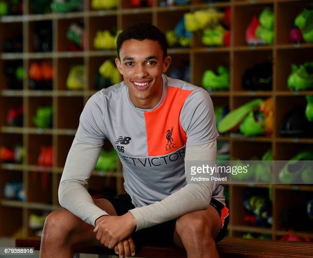 Trent AlexanderArnold of Liverpool during a photoshoot at Melwood Training Ground on May 5 2017 in Liverpool England