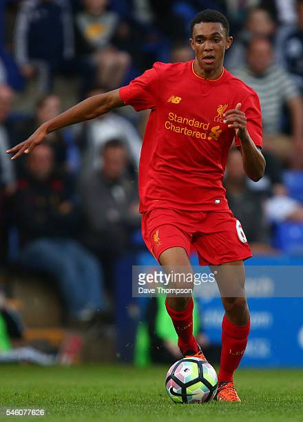 Trent AlexanderArnold of Liverpool during the PreSeason Friendly match between Tranmere Rovers and Liverpool at Prenton Park on July 8 2016 in...