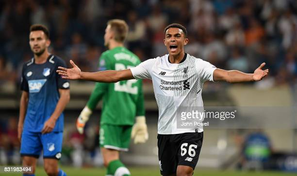 TRent AlexanderArnold of Liverpool during the UEFA Champions League Qualifying PlayOffs Round First Leg match between 1899 Hoffenheim and Liverpool...