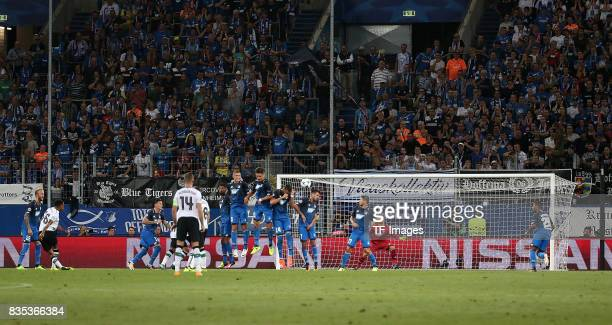 Trent AlexanderArnold of Liverpool scores a goal during the UEFA Champions League Qualifying PlayOffs Round First Leg match between 1899 Hoffenheim...