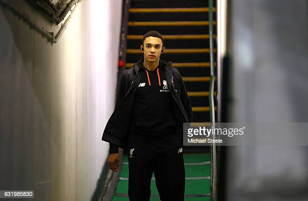 Trent AlexanderArnold of Liverpool walks out to the pitch prior to The Emirates FA Cup Third Round Replay match between Plymouth Argyle and Liverpool...