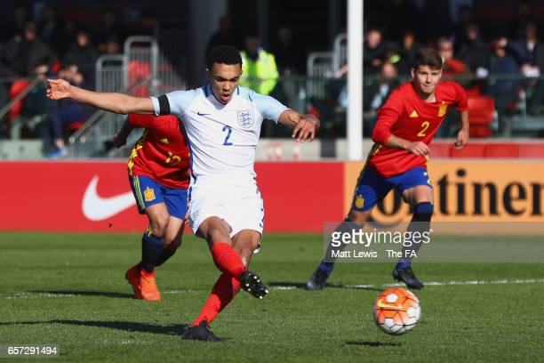 Trent Arnold of England scores his team's second goal from the penalty spot during the UEFA U19 International Qualifier match between Spain and...