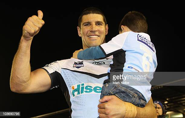 Trent Barrett of the Sharks poses after his final home game in the round 25 NRL match between the Cronulla Sharks and the Gold Coast Titans at Toyota...