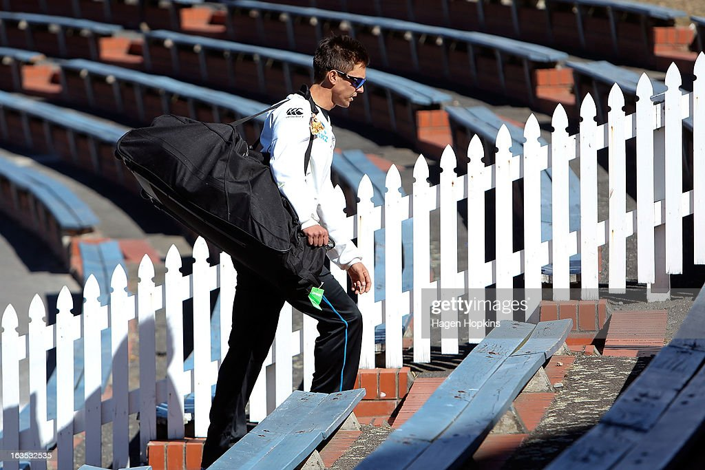 Trent Boult makes his way to the nets during a New Zealand training session at Basin Reserve on March 12, 2013 in Wellington, New Zealand.
