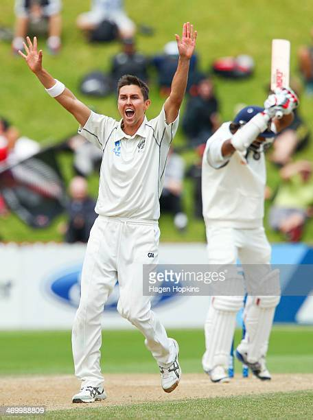 Trent Boult of New Zealand appeals succesfully for the wicket of Shikar Dhawan of India during day five of the 2nd Test match between New Zealand and...