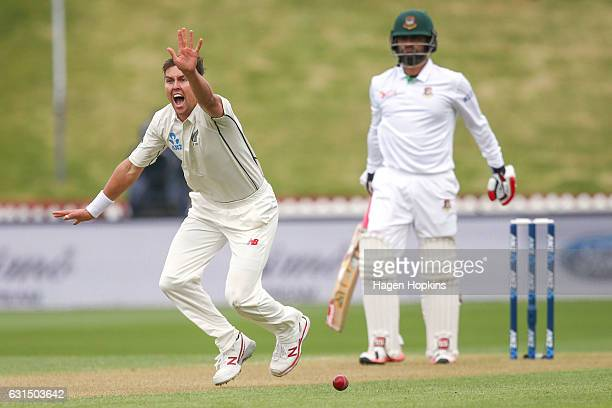 Trent Boult of New Zealand appeals successfully for the wicket of Tamim Iqbal of Bangladesh during day one of the First Test match between New...