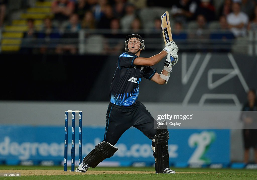 Trent Boult of New Zealand bats during the 1st T20 International between New Zealand and England at Eden Park on February 9, 2013 in Auckland, New Zealand.