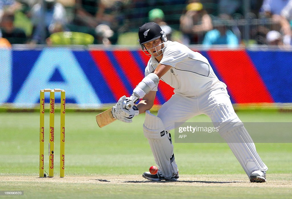 Trent Boult of New Zealand bats on the third day of the second and final test match between South Africa and New Zealand at the Axxess St George's Cricket Stadium on January 13, 2013 in Port Elizabeth. AFP Photo / Anesh Debiky