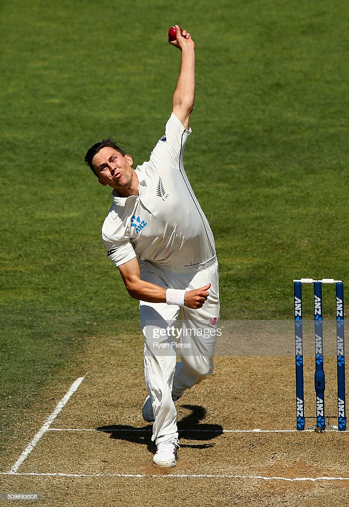 <a gi-track='captionPersonalityLinkClicked' href=/galleries/search?phrase=Trent+Boult&family=editorial&specificpeople=4880813 ng-click='$event.stopPropagation()'>Trent Boult</a> of New Zealand bowls during day two of the Test match between New Zealand and Australia at Basin Reserve on February 13, 2016 in Wellington, New Zealand.