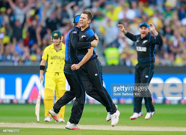 Trent Boult of New Zealand celebrates after dismissing Aaron Finc of Australia during the 2015 ICC Cricket World Cup final match between Australia...