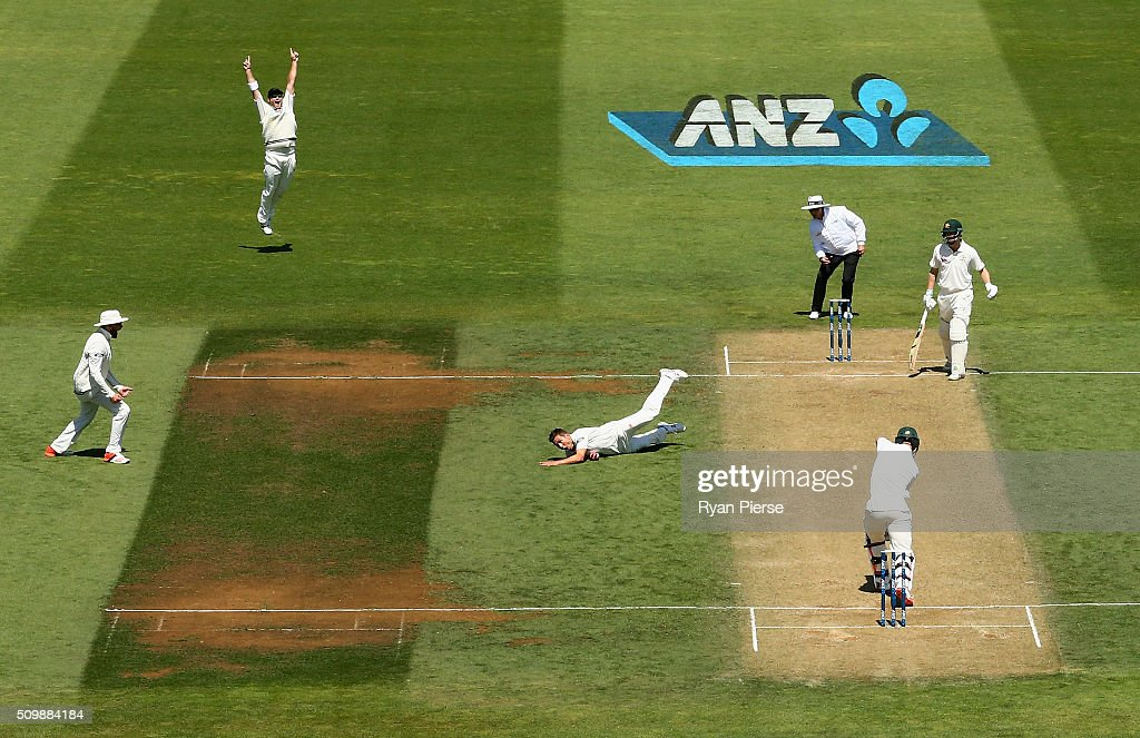 <a gi-track='captionPersonalityLinkClicked' href=/galleries/search?phrase=Trent+Boult&family=editorial&specificpeople=4880813 ng-click='$event.stopPropagation()'>Trent Boult</a> of New Zealand celebrates after taking a catch off his own bowling to dismiss Mitch Marsh of Australia during day two of the Test match between New Zealand and Australia at Basin Reserve on February 13, 2016 in Wellington, New Zealand.