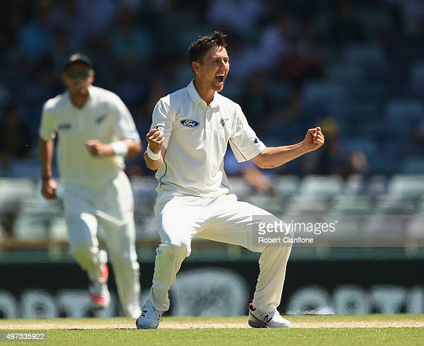 Trent Boult of New Zealand celebrates after taking the wicket of David Warner of Australia during day four of the second Test match between Australia...