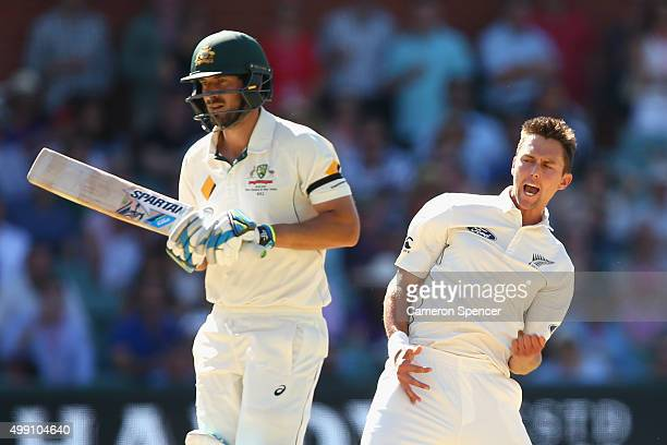 Trent Boult of New Zealand celebrates dismissing Joe Burns of Australia for lbw during day three of the Third Test match between Australia and New...