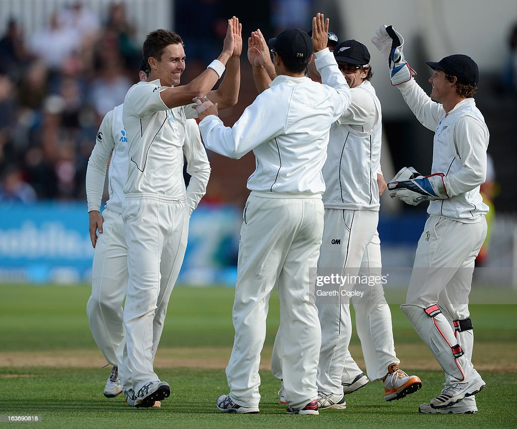 Trent Boult of New Zealand celebrates dismissing Jonathan Trott of England during day two of the second Test match between New Zealand and England at Basin Reserve on March 15, 2013 in Wellington, New Zealand.