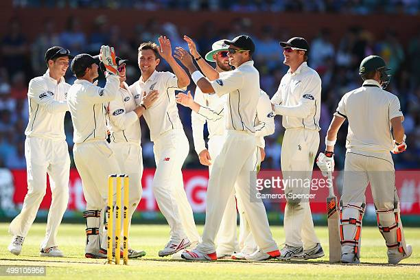 Trent Boult of New Zealand celebrates dismissing Steve Smith of Australia for lbw during day three of the Third Test match between Australia and New...