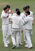 Trent Boult of New Zealand celebrates the catch of Brendon McCullum to dismiss Milinda Siriwardana of Sri Lanka during day five of the First Test...