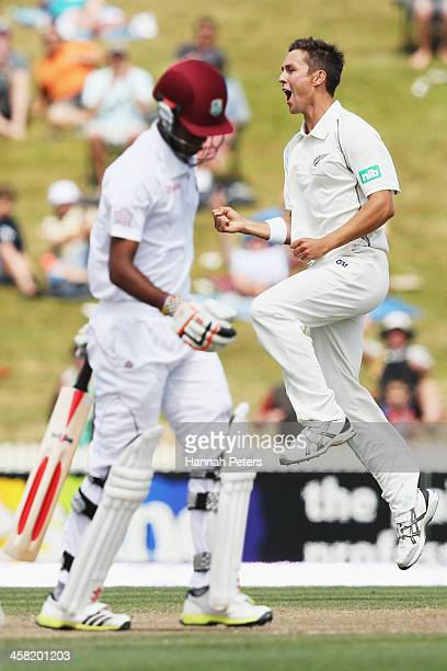 Trent Boult of New Zealand celebrates the wicket of Kraigg Brathwaite of the West Indies during day three of the Third Test match between New Zealand...