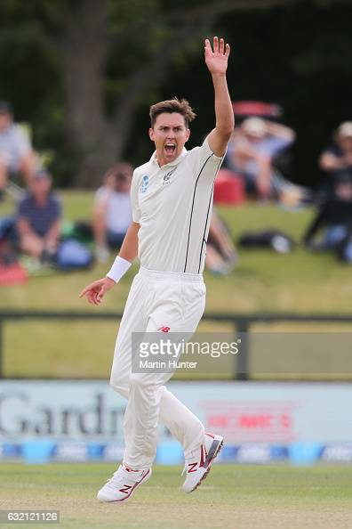 Trent Boult of New Zealand celebrates the wicket of Mahmudullah of Bangladesh during day one of the Second Test match between New Zealand and...