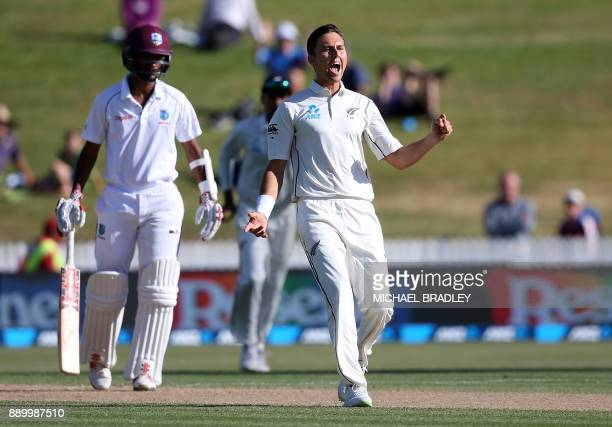 Trent Boult of New Zealand celebrates the wicket of West Indies' Kieran Powell during day three of the second Test cricket match between New Zealand...