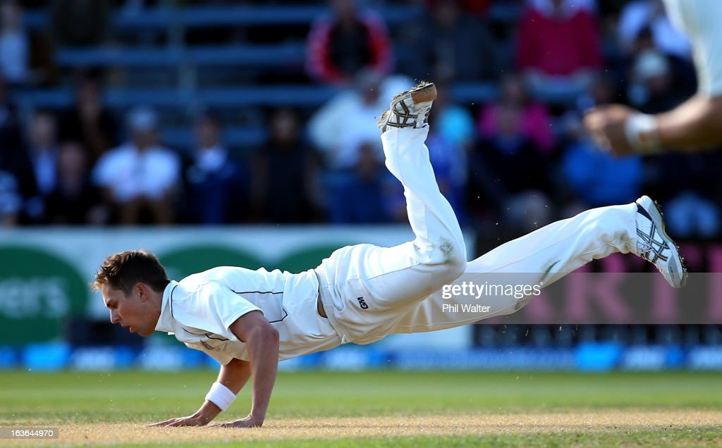Trent Boult of New Zealand fields the ball during day one of the Second Test match between New Zealand and England at the Basin Reserve on March 14, 2013 in Wellington, New Zealand.
