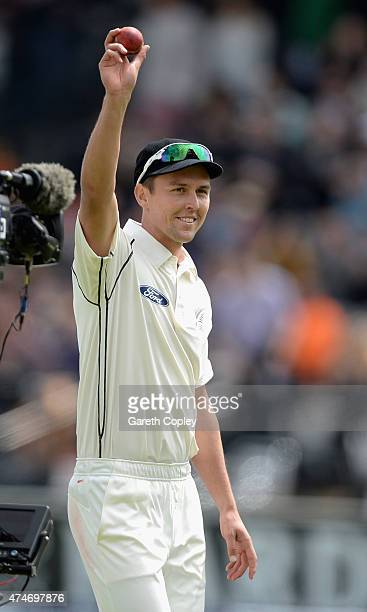 Trent Boult of New Zealand holds up the ball after taking five wickets in the innings during day five of 1st Investec Test match between England and...