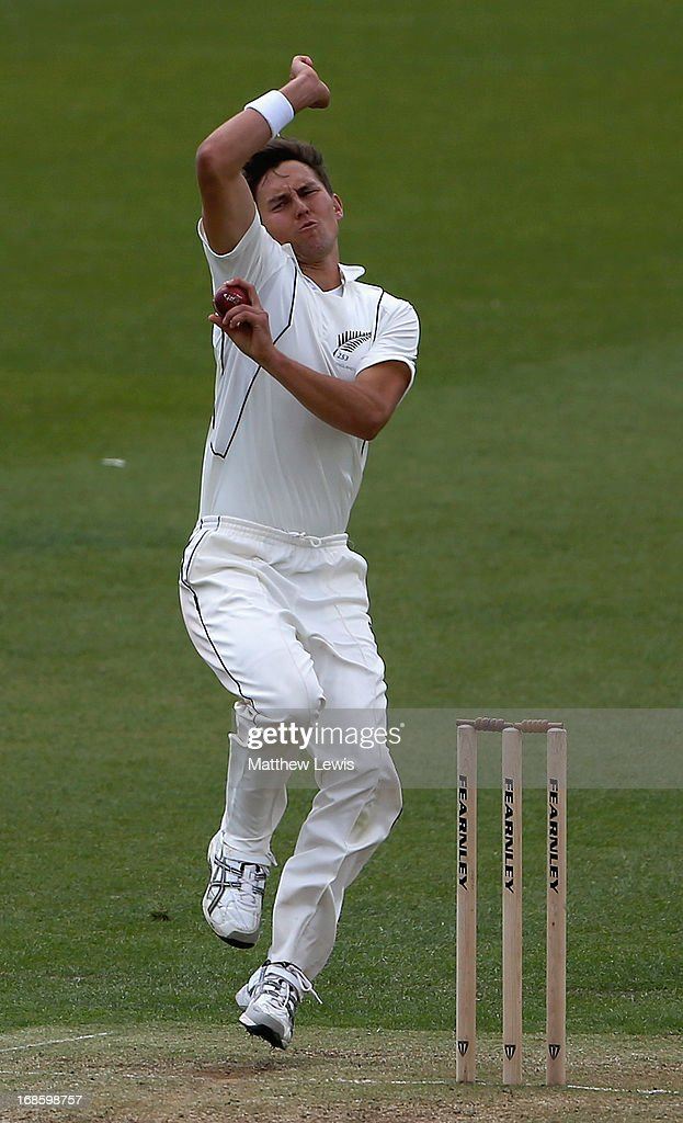 Trent Boult of New Zealand in action during day four of the tour match between England Lions and New Zealand at Grace Road on May 12, 2013 in Leicester, England.