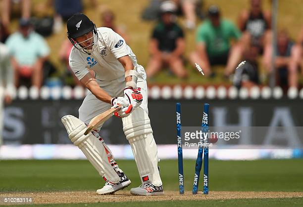 Trent Boult of New Zealand is bowled by Mitch Marsh of Australia during day four of the Test match between New Zealand and Australia at Basin Reserve...