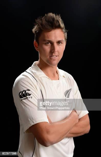 Trent Boult of New Zealand poses for the camera during the New Zealand Cricket Headshots photo session before the Test series against England at...