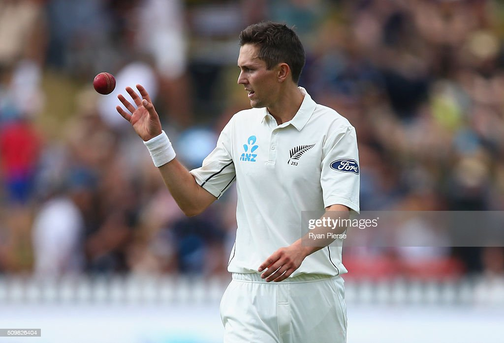 Trent Boult of New Zealand prepares to bowl during day two of the Test match between New Zealand and Australia at Basin Reserve on February 13, 2016 in Wellington, New Zealand.