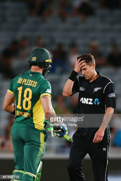 Trent Boult of New Zealand reacts during game five of the One Day International series between New Zealand and South Africa at Eden Park on March 4...
