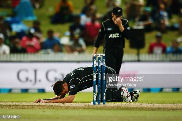 Trent Boult of New Zealand reacts during the First One Day International match between New Zealand and South Africa at Seddon Park on February 19...