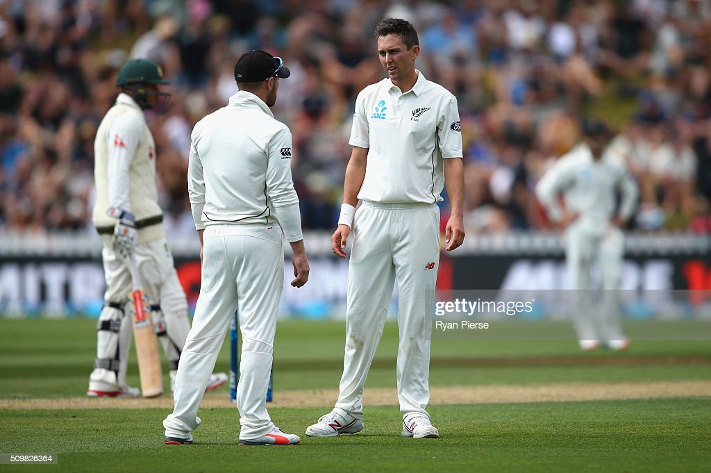 Trent Boult of New Zealand speaks with Brendon McCullum of New Zealand during day two of the Test match between New Zealand and Australia at Basin Reserve on February 13, 2016 in Wellington, New Zealand.