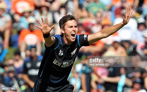 Trent Boult of New Zealand successfully appeals for the wicket of Hamish Gardiner of Scotland during the ICC Cricket World Cup match between New...