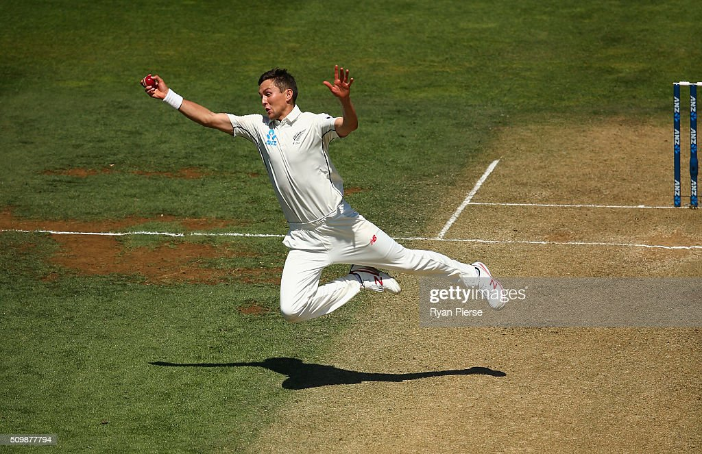 <a gi-track='captionPersonalityLinkClicked' href=/galleries/search?phrase=Trent+Boult&family=editorial&specificpeople=4880813 ng-click='$event.stopPropagation()'>Trent Boult</a> of New Zealand takes a catch off his own bowling to dismiss Mitch Marsh of Australia during day two of the Test match between New Zealand and Australia at Basin Reserve on February 13, 2016 in Wellington, New Zealand.