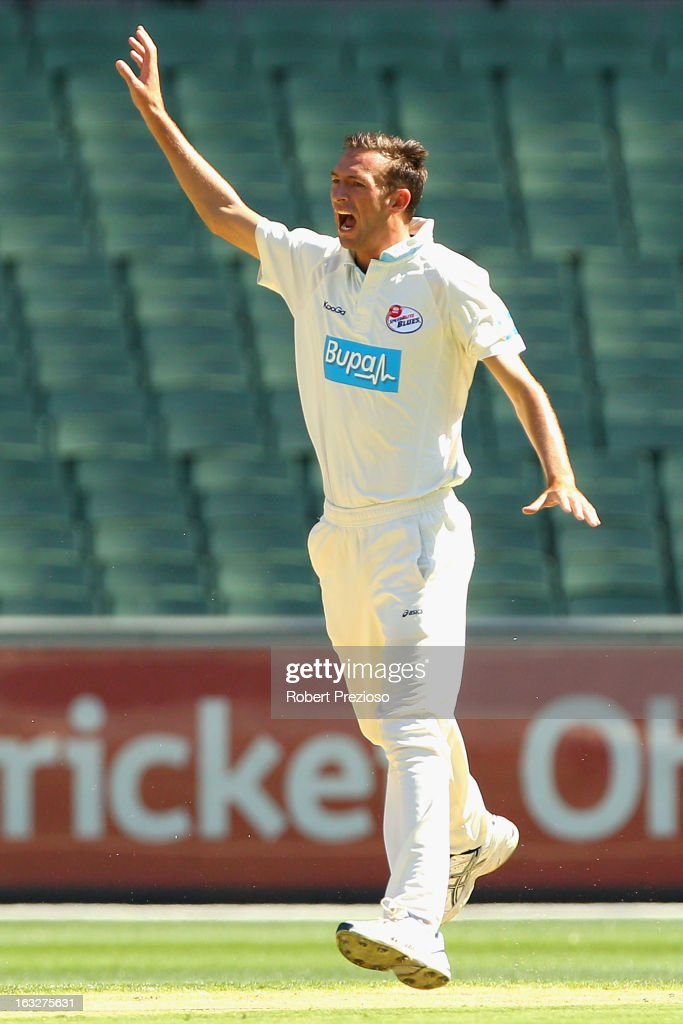 Trent Copeland of the Blues appeals unsuccessfully during day one of the Sheffield Shield match between the Victorian Bushrangers and the New South Wales Blues at Melbourne Cricket Ground on March 7, 2013 in Melbourne, Australia.
