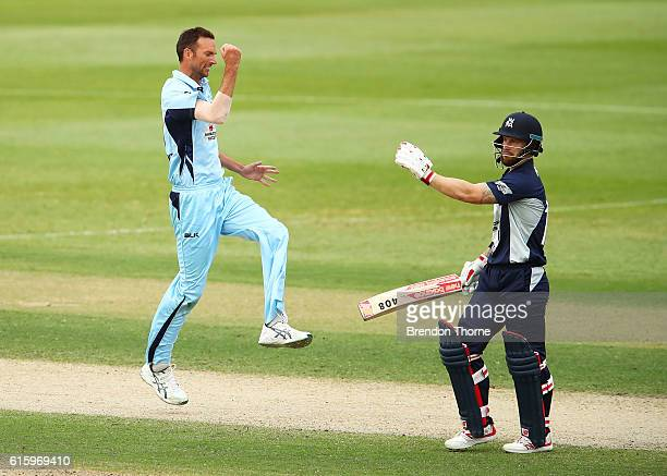 Trent Copeland of the Blues celebrates after claiming the wicket of Matthew Wade of the Bushrangers during the Matador BBQs One Day Cup match between...