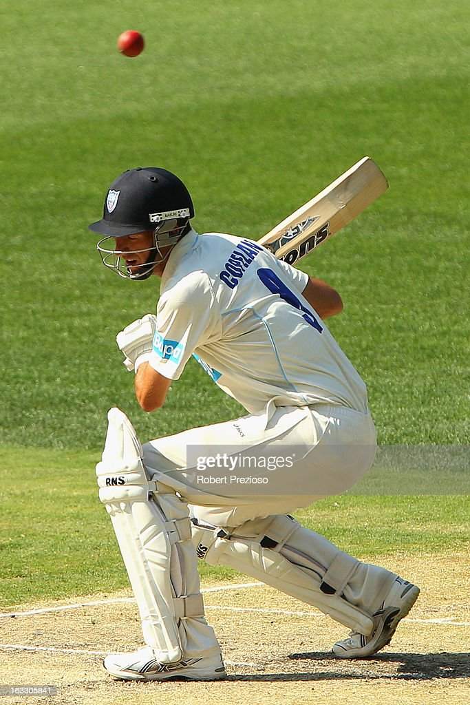 Trent Copeland of the Blues ducks under a short ball during day two of the Sheffield Shield match between the Victorian Bushrangers and the New South Wales Blues at Melbourne Cricket Ground on March 8, 2013 in Melbourne, Australia.