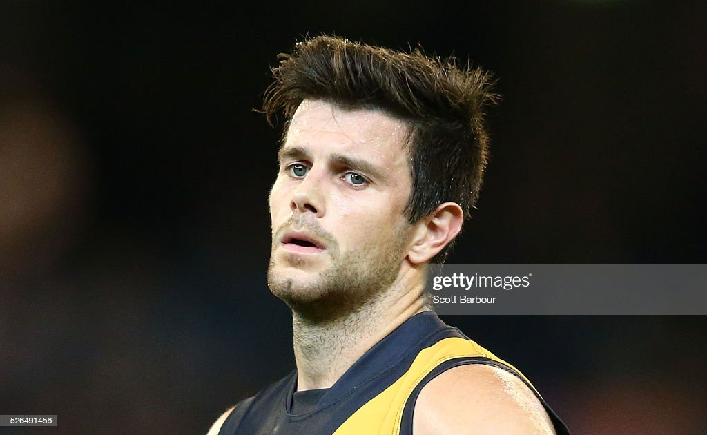 Trent Cotchin and the Tigers reacts at full time after losing the round six AFL match between the Richmond Tigers and the Port Adelaide Power at Melbourne Cricket Ground on April 30, 2016 in Melbourne, Australia.